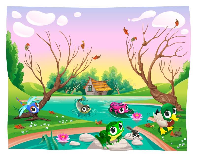 Roliga djur i dammet royaltyfri illustrationer