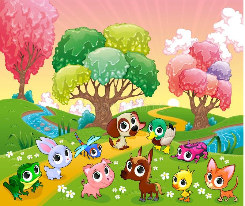 Roliga djur i det magiska trät vektor illustrationer