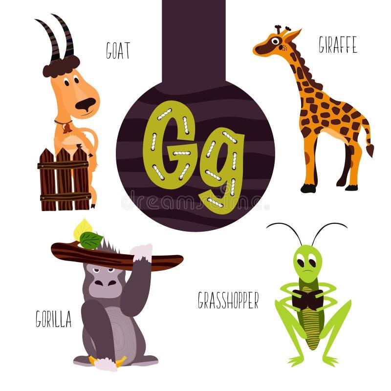 Roliga djura bokstäver av alfabetet för utvecklingen och lära av förskole- barn Uppsättning av den gulliga skogen, hemhjälpen och royaltyfri illustrationer