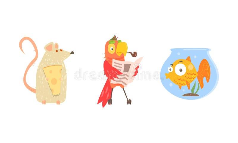 Roliga djura tecken i olika lägen, mus med ost, papegojaläsningtidning, fisk i akvariumvektor stock illustrationer