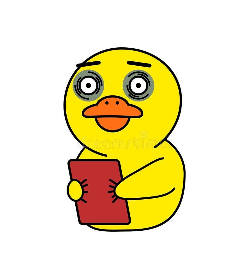 Roliga Duck Sticker för det koreanska budbärareKakao samtalet stock illustrationer