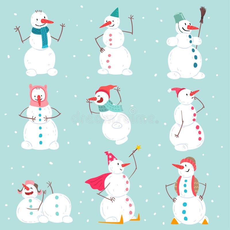 Roliga emotionella snögubbetecken ställer in i olika lägen, jul, och det nya året semestrar garneringbeståndsdelar vektor illustrationer