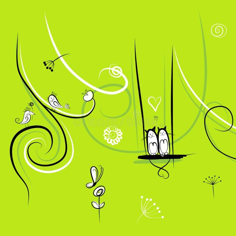 Roliga fåglar och katter för din design royaltyfri illustrationer