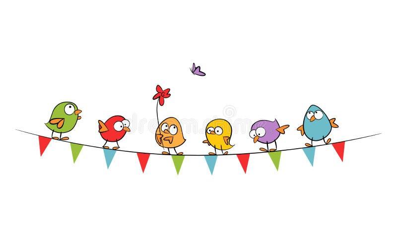 Roliga fåglar på bunting flaggor firar våren - utdragen vektorillustration för färgrik hand vektor illustrationer