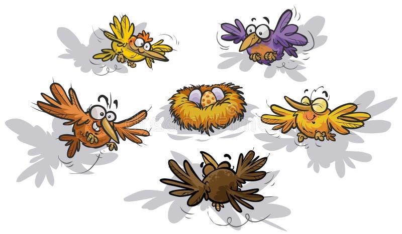 Roliga fåglar runt om ett rede vektor illustrationer