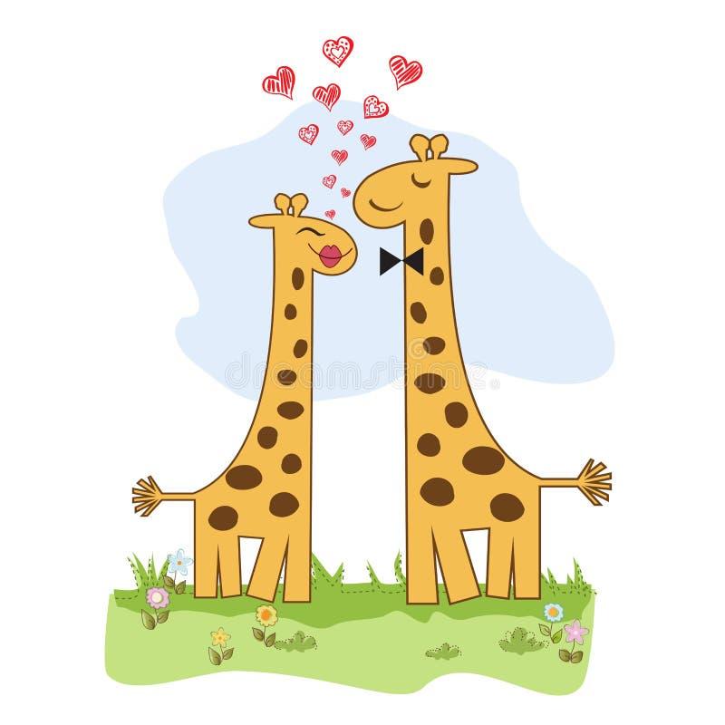 Roliga förälskade giraffpar stock illustrationer