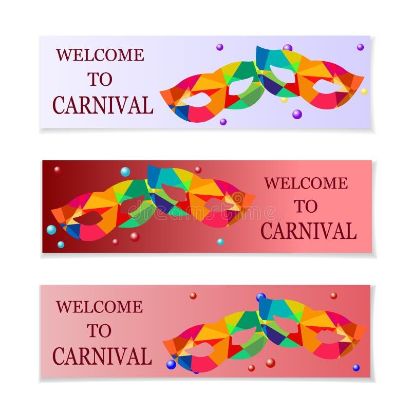 roliga feriemaskeringar för karneval Reklamblad och inbjudan till karnevalet illustration stock illustrationer