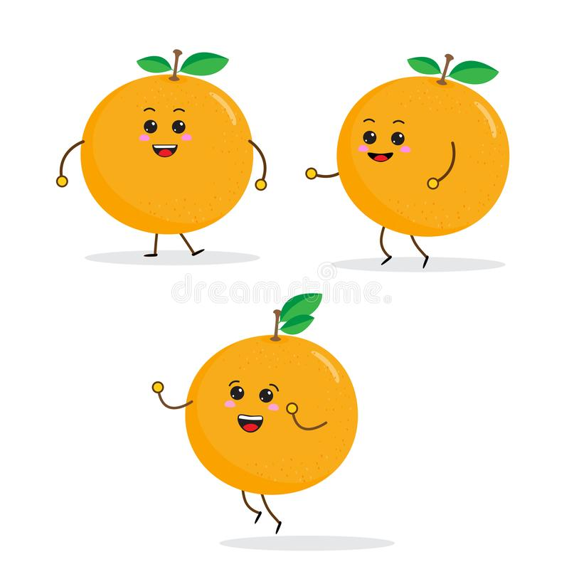 roliga frukttecken för tecknad film, apelsin stock illustrationer