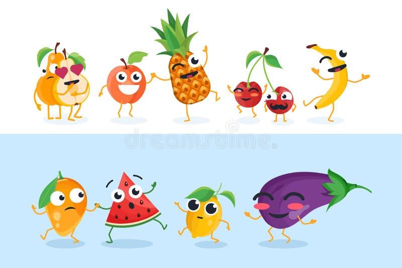 Roliga frukttecken - uppsättningen av vektorn isolerade illustrationer royaltyfri illustrationer