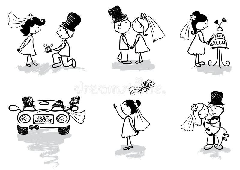 roliga gifta män som gifta sig nytt royaltyfri illustrationer
