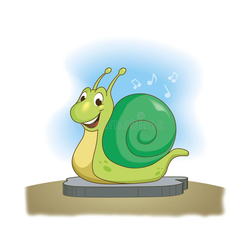 Roliga gröna snigelleenden , illustration royaltyfri illustrationer