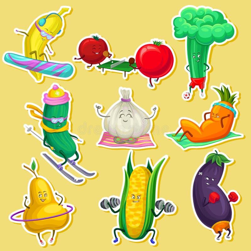 Roliga grönsak- och frukttecken som gör sportar, ställde in, klistermärkear med illustrationer för grönsaktecknad filmvektorn vektor illustrationer