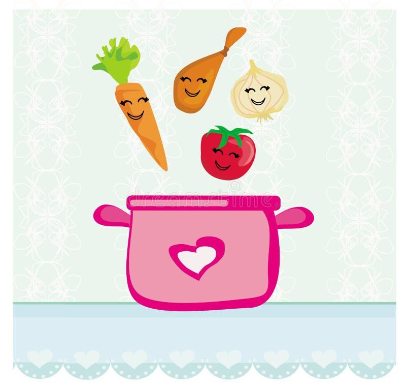Roliga grönsaker hoppar in i soppan royaltyfri illustrationer