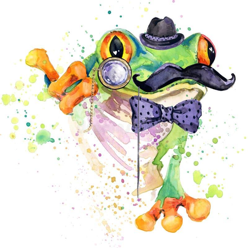 Roliga grodaT-tröjadiagram grodaillustration med texturerad bakgrund för färgstänk vattenfärg ovanlig fa för illustrationvattenfä royaltyfri illustrationer