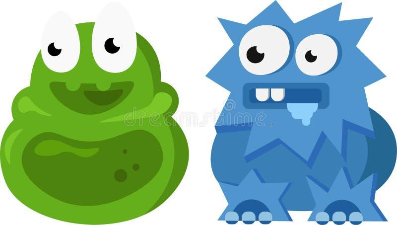 Roliga gulliga gröna och blåa monster arkivfoton