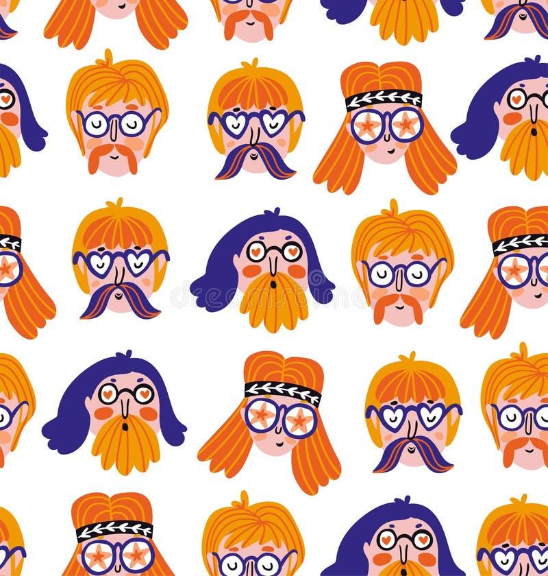 Roliga gulliga hippiestående Vektorfestivaltryck Sömlös modelldesign med utdragna stilfulla framsidor för hand royaltyfri illustrationer