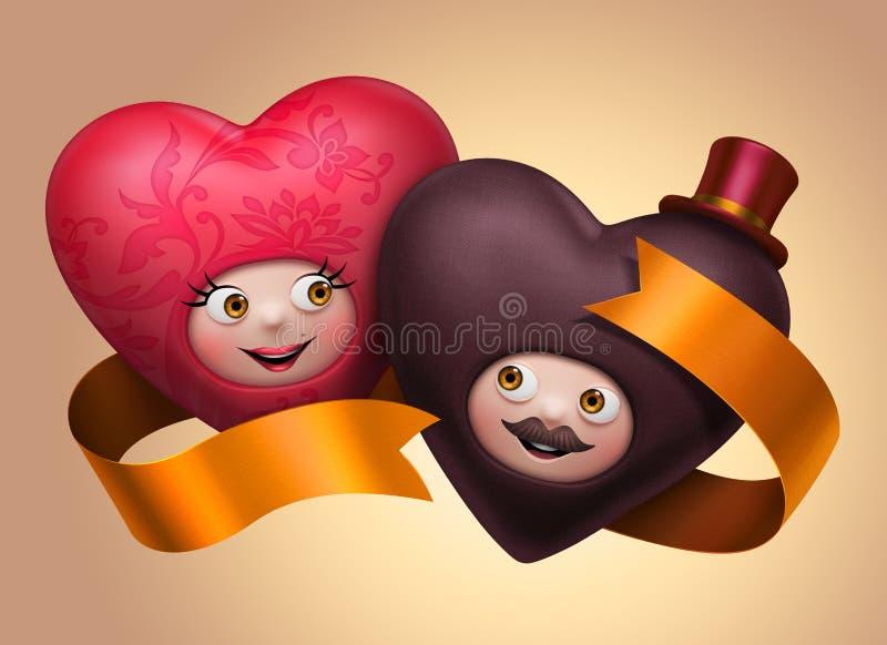 Roliga gulliga lyckliga bröllophjärtor kopplar ihop förälskat vektor illustrationer
