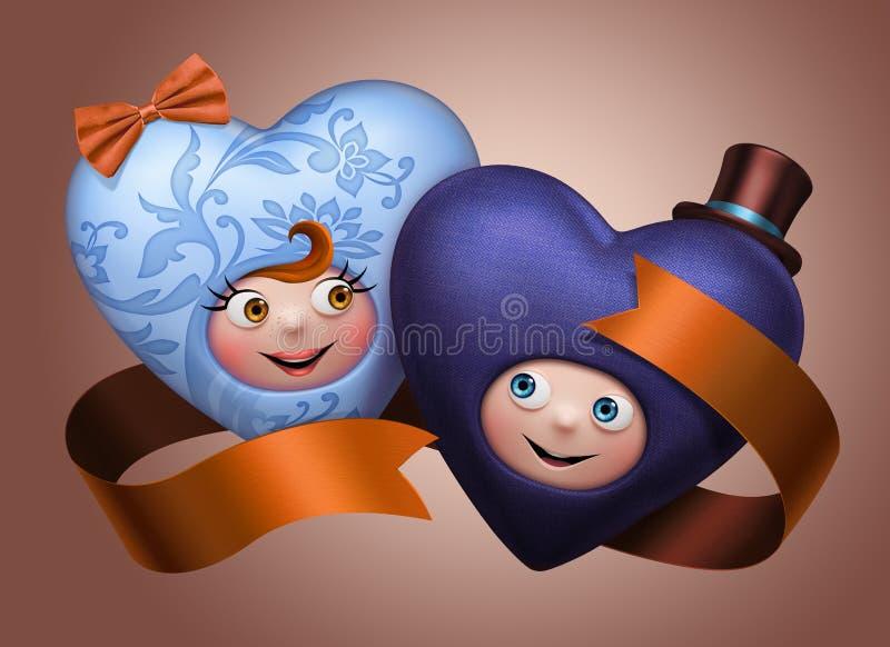 Roliga gulliga lyckliga valentinhjärtor kopplar ihop stock illustrationer