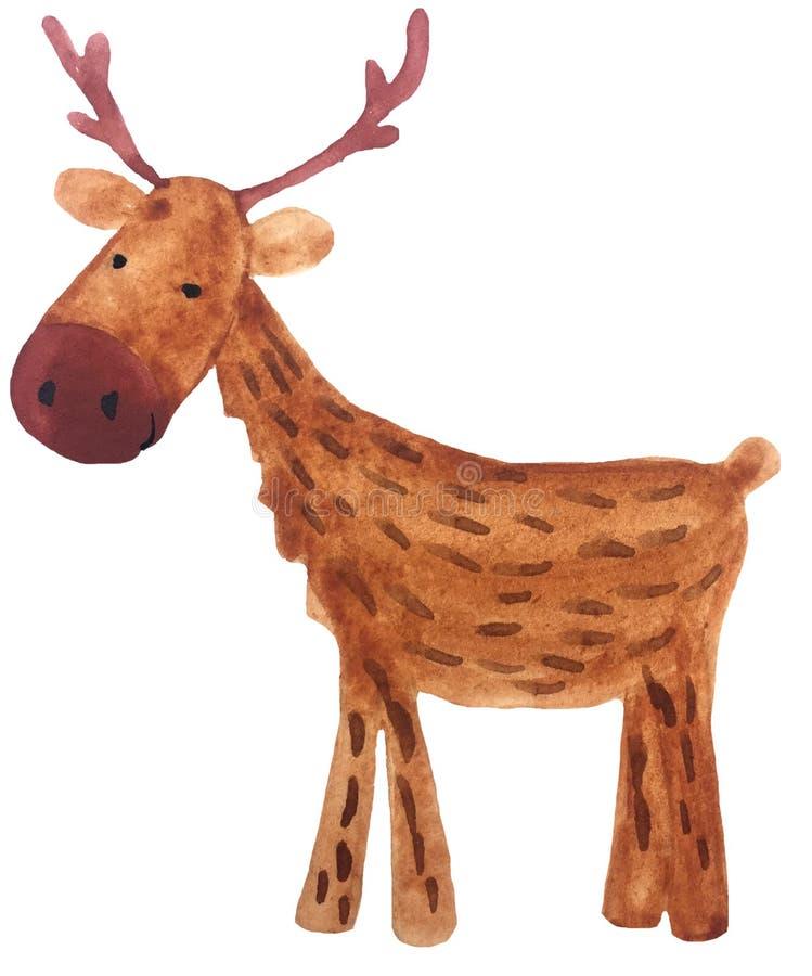 Roliga hjortar för nytt år för tecknad film vattenfärghandteckning som är illustrativ för design av vykort, affischer och tryck stock illustrationer