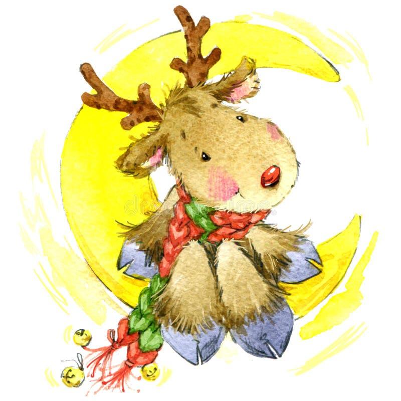 Roliga hjortar Santa Claus för flygillustration för näbb dekorativ bild dess paper stycksvalavattenfärg vektor illustrationer