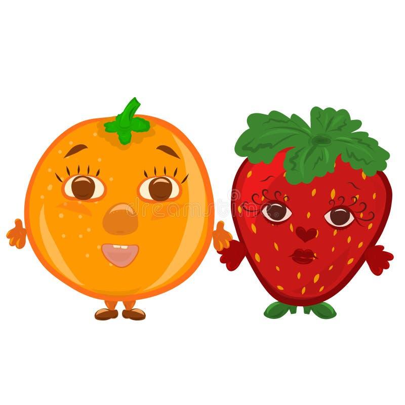 Roliga jordgubbar och apelsin, bär och frukt med framsidor vektor illustrationer