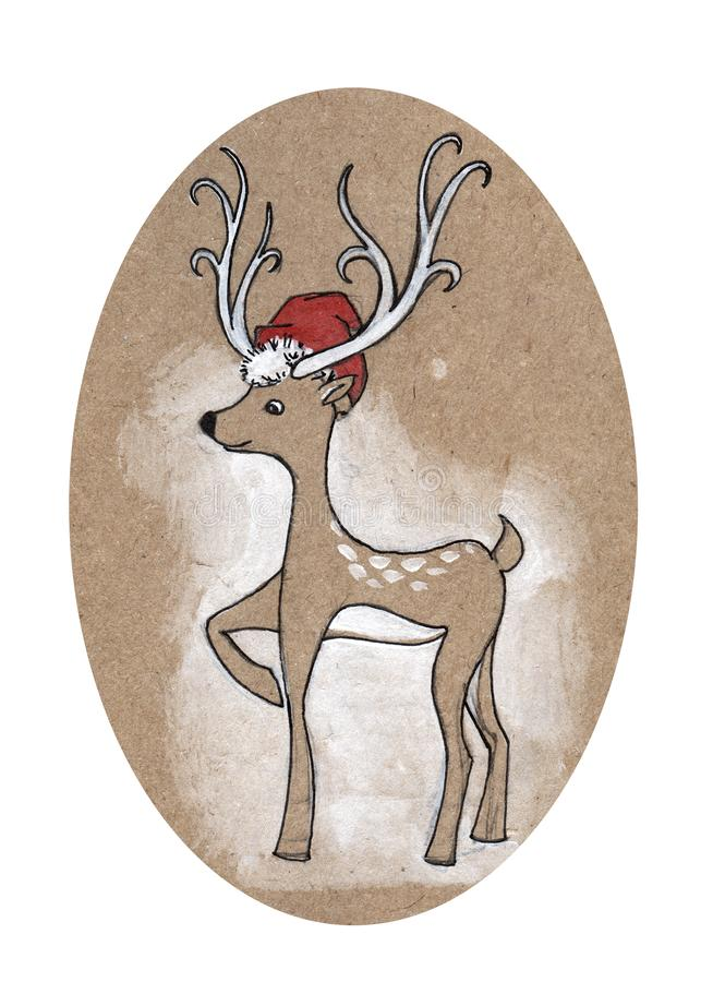 Roliga julhjortar i rött hade Hand dragen illustration på ett hantverkpapper royaltyfri illustrationer