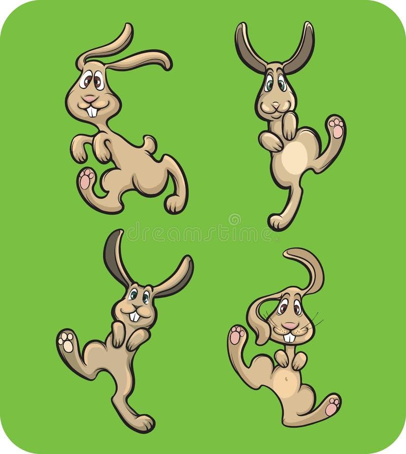 roliga kaniner vektor illustrationer