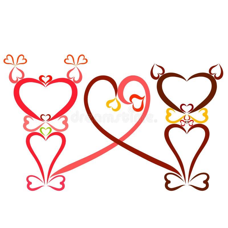 Roliga katter från hjärtor, flicka och pojke och hjärta från deras svansar stock illustrationer