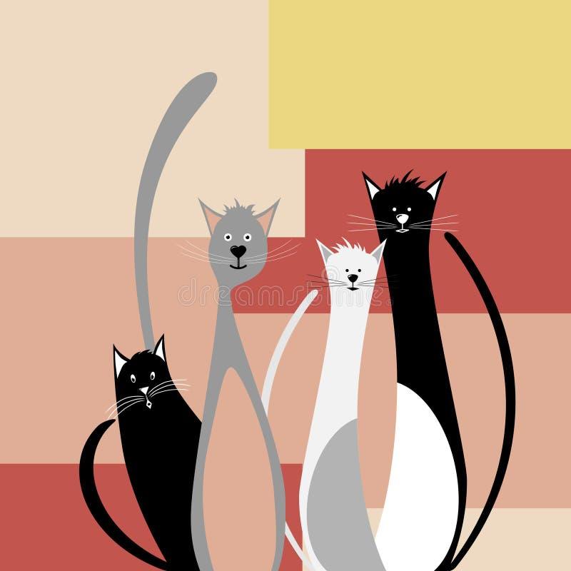 roliga katter fyra royaltyfri illustrationer