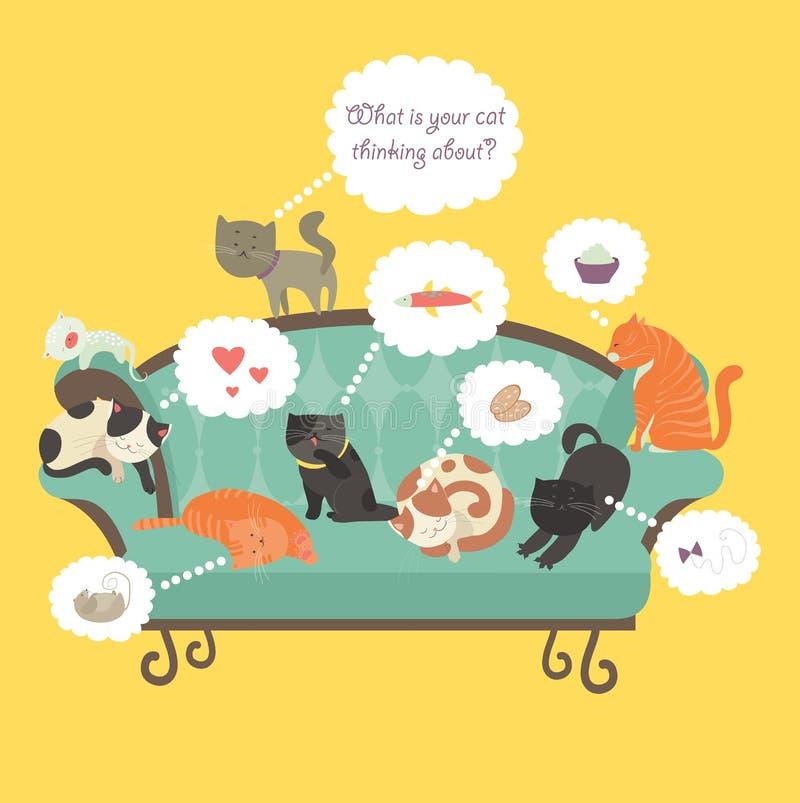 Roliga katter med anförandebubblan vektor illustrationer