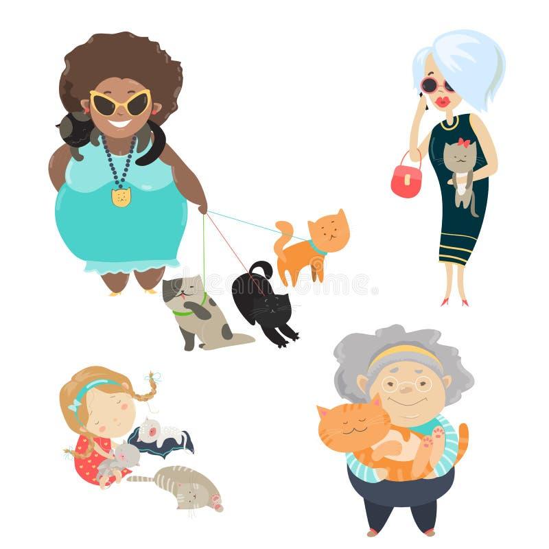 Roliga katter med deras ägare stock illustrationer