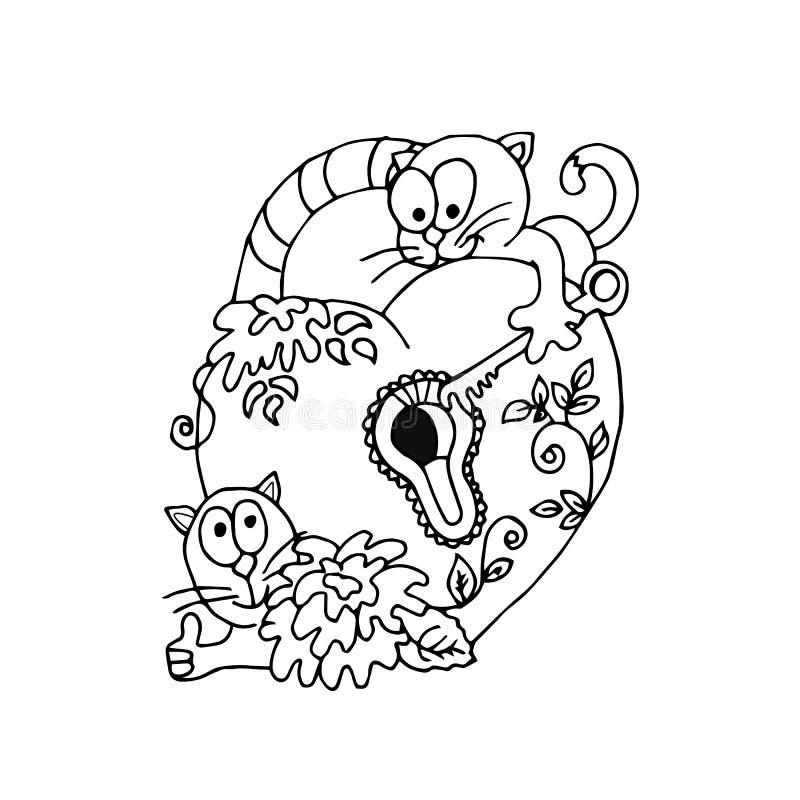 Roliga katter med en tangent öppnar hjärtalåset bröllop för band för inbjudan för blomma för elegans för bakgrundsgarneringdetalj stock illustrationer