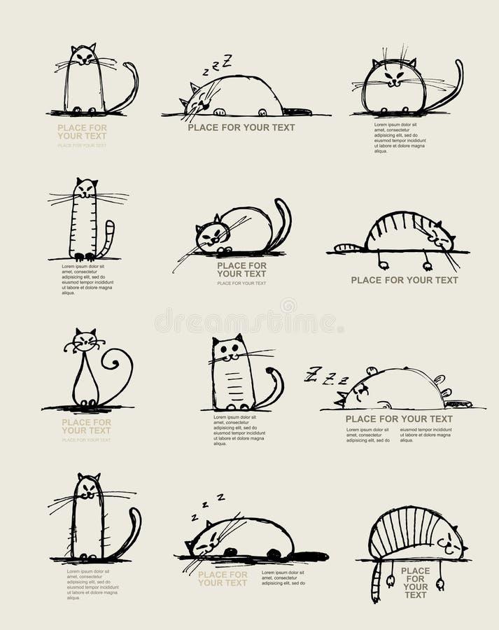 Roliga katter skissar, planlägger med stället för din text stock illustrationer