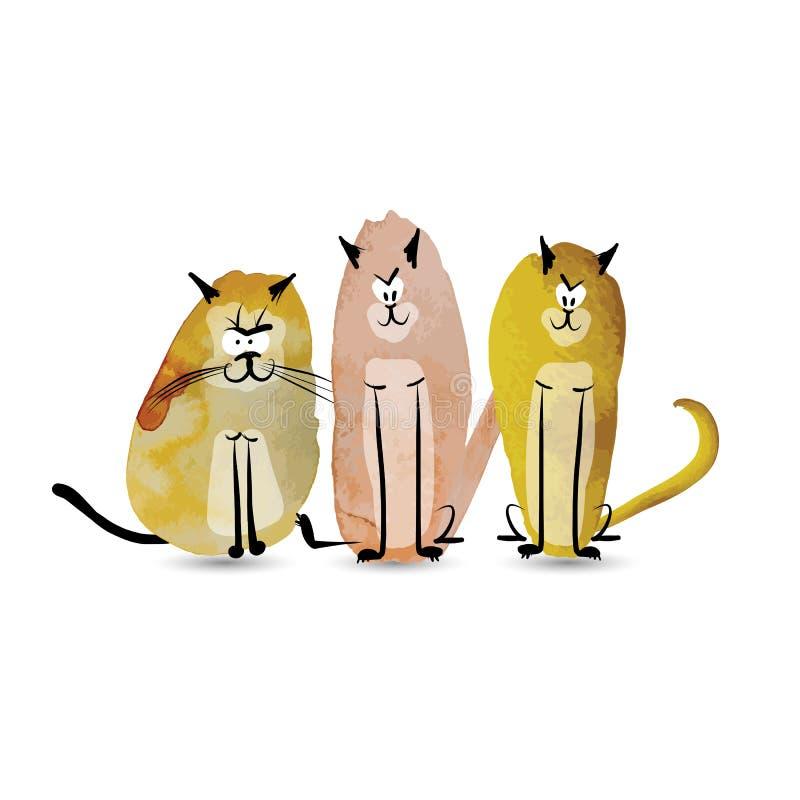 roliga katter Vattenfärgen skissar för din design vektor illustrationer