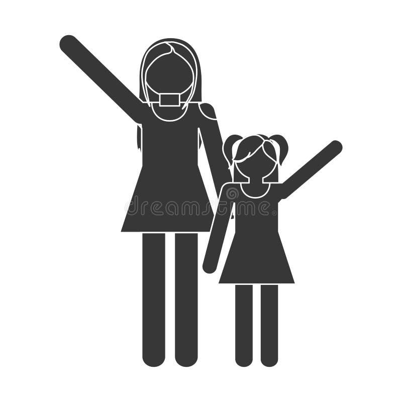 roliga konturfamiljmoder och dotter royaltyfri illustrationer