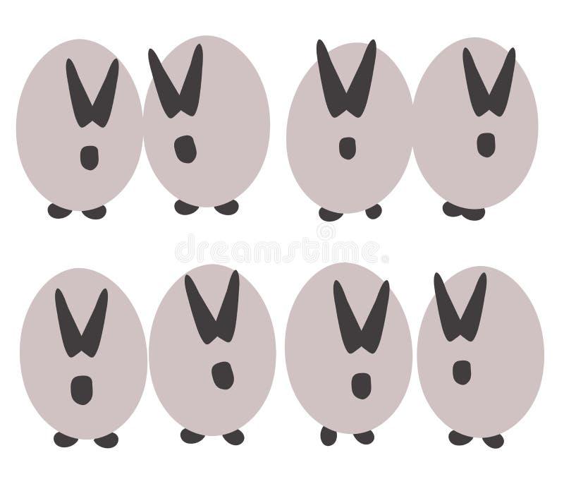 Roliga kruka-buktade grå färgkaniner med svart gå i ax, tystar ned och tafsar av ljus - gråa ägg som isoleras på vit bakgrund stock illustrationer