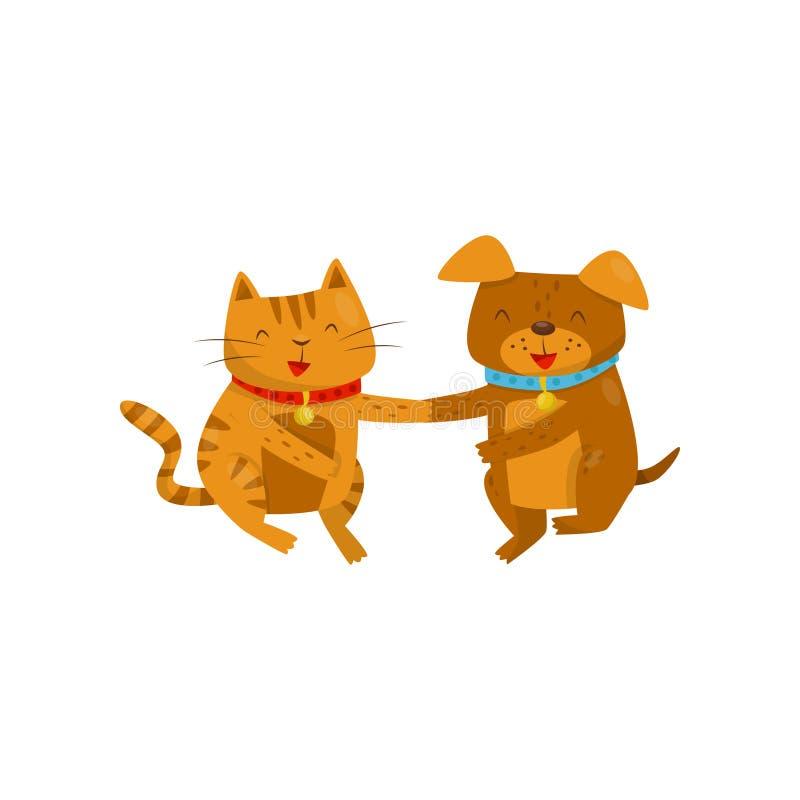 Roliga le hund- och kattinnehavhänder, gulliga inhemska tecknad filmtecken för älsklings- djur, bästa vänvektorillustration stock illustrationer