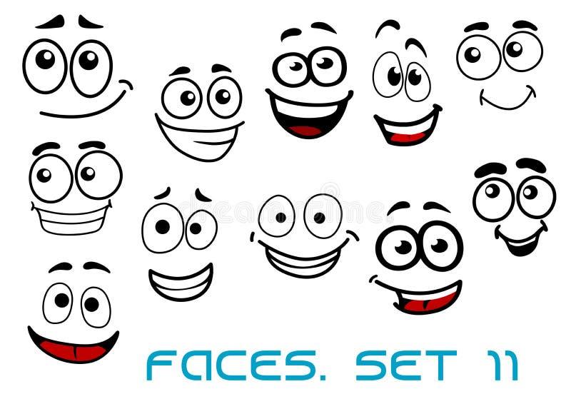 Roliga lyckliga framsidatecknad filmtecken stock illustrationer