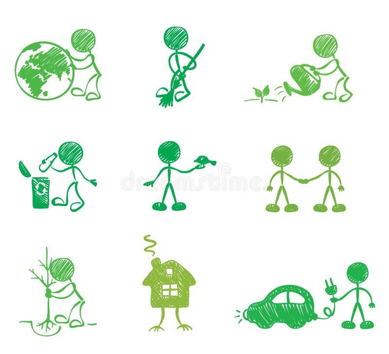roliga män för ekologi royaltyfri illustrationer