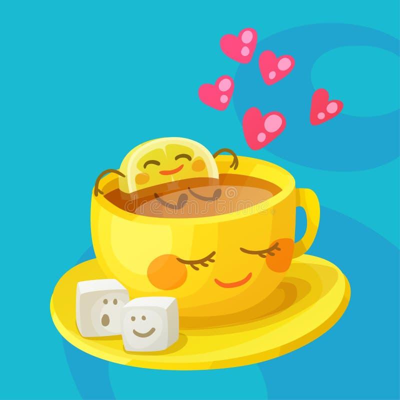 Roliga mattecken en förälskade en kopp te, citronskiva och sockerkuber Gladlynt tecknad filmvektorillustration royaltyfri illustrationer