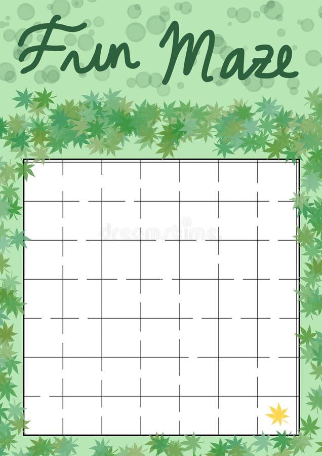 Roliga Maze Labyrinth för ungeaktivitet med att finna bladet stock illustrationer