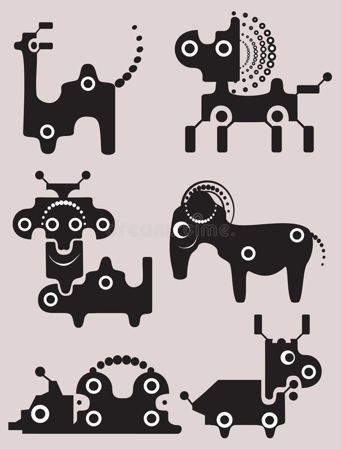 roliga monster för 1 tecknad filmsamling royaltyfri illustrationer