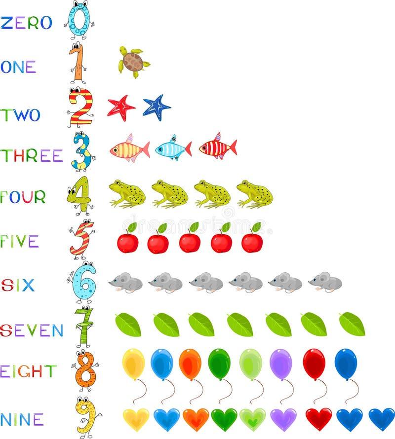 roliga nummer royaltyfri illustrationer