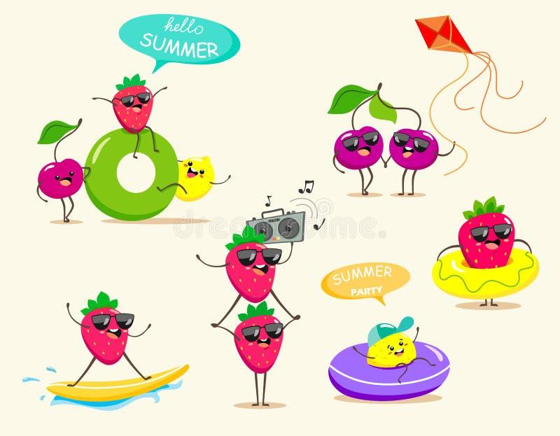 Roliga och ljusa frukter i en tecknad filmstil och kawaiistil f?r sommarferier Vektorfruktisolater Sommarb?r stock illustrationer