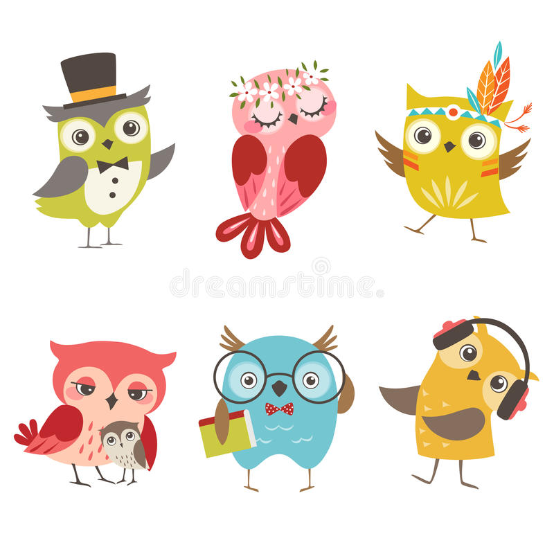 roliga owls vektor illustrationer
