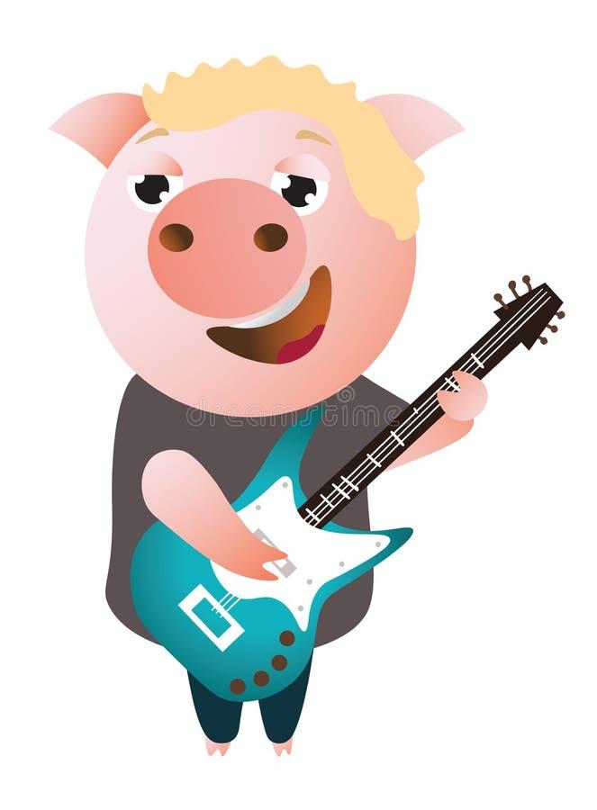 Roliga piggy allsånger och lekar på elbasen royaltyfri illustrationer