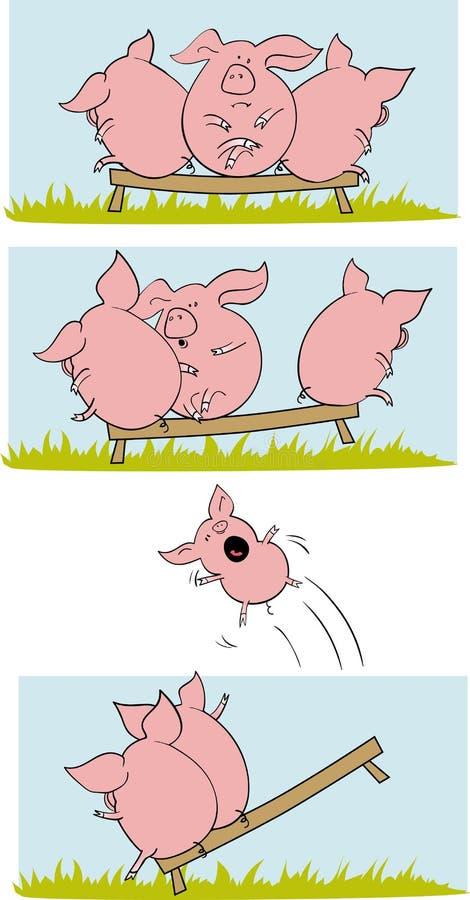 roliga pigs för comix vektor illustrationer