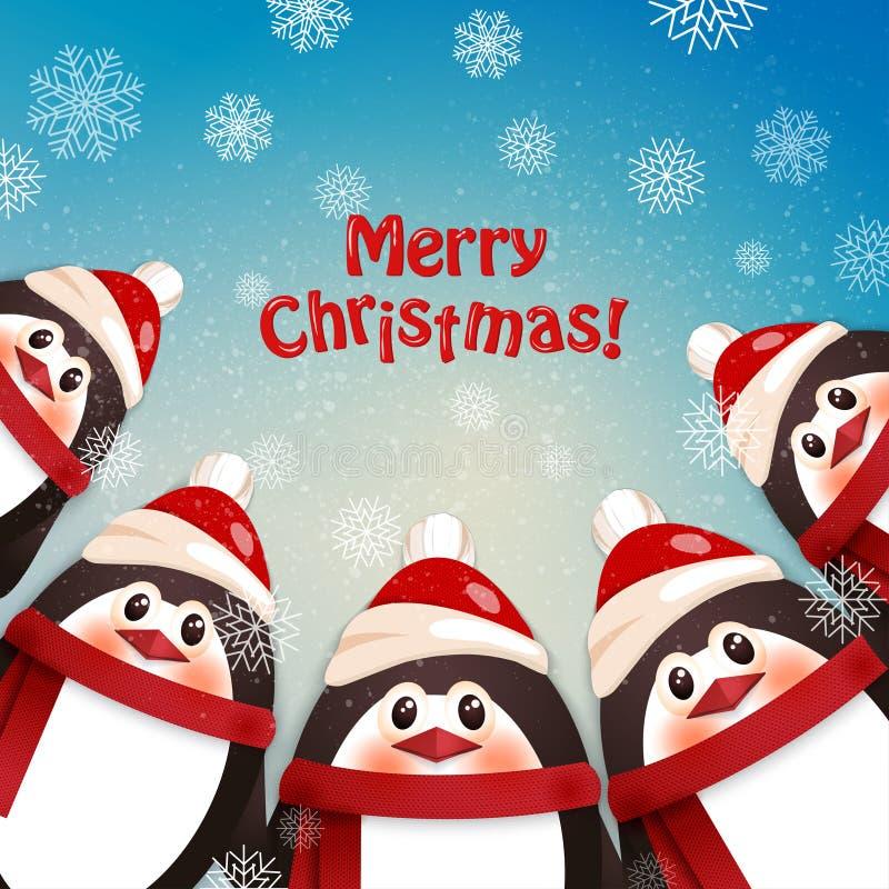 roliga pingvin vinter för blåa snowflakes för bakgrund vit stock illustrationer