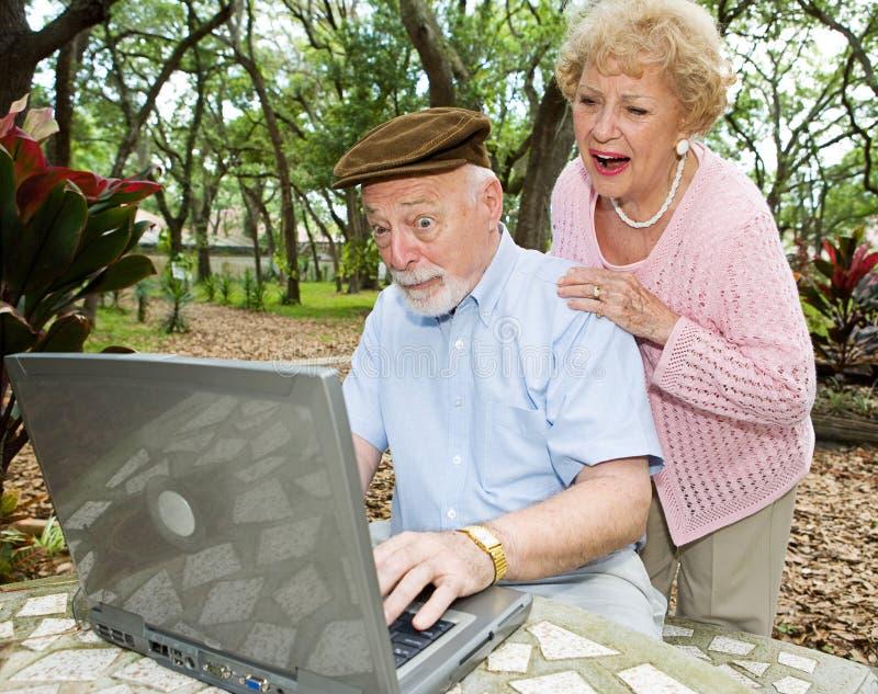 roliga postpensionärer för dator e royaltyfri foto
