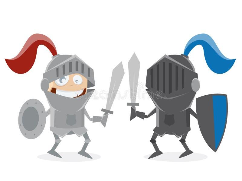 Roliga riddare som mot varandra slåss royaltyfri illustrationer